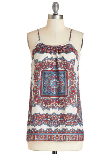 Ready for Take Off Tank - Multi, Sleeveless, Mid-length, Cotton, Woven, Multi, Red, Tan / Cream, Print, Boho, Festival, Spaghetti Straps, Summer, Vintage Inspired, 70s