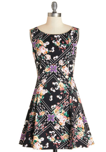 Dance Flourish Dress - Multi, Floral, Casual, A-line, Sleeveless, Woven, Good, Scoop, Short