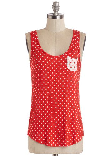 Anytime Is Right Top - Red, Polka Dots, Casual, Tank top (2 thick straps), Summer, Red, Sleeveless, White, Pockets, Scoop, Exclusives