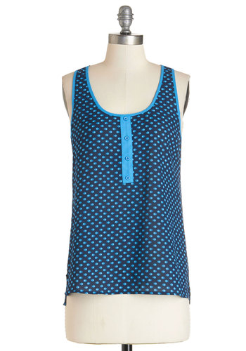 Shoal Patrol Top - Blue, Sleeveless, Mid-length, Woven, Blue, Print with Animals, Casual, Beach/Resort, Sleeveless, Summer, Nautical, Scoop