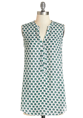 Fun-Loving Kindness Top - Long, Woven, Green, Print with Animals, Safari, Critters, Sleeveless, Summer, White, Sleeveless, White, Buttons