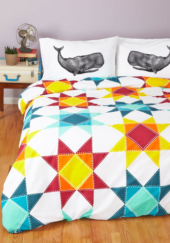 Quilt for the Day Duvet Cover in Twin/Twin XL - Cotton, Woven, Multi, Folk Art, Quirky, Best, White, Exclusives, Variation, Graduation, Dorm Decor
