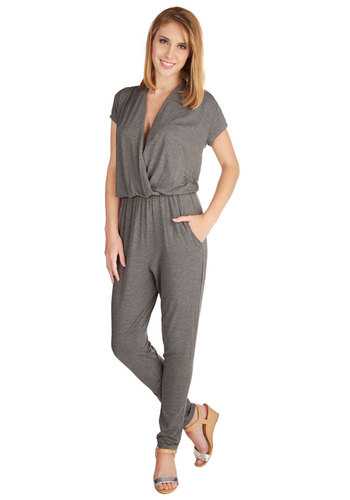 Grey-vy Train Jumpsuit - Good, Grey, Jumpsuit, Full length, Long, Jersey, Knit, Grey, Solid, Pockets, Casual, Short Sleeves, V Neck