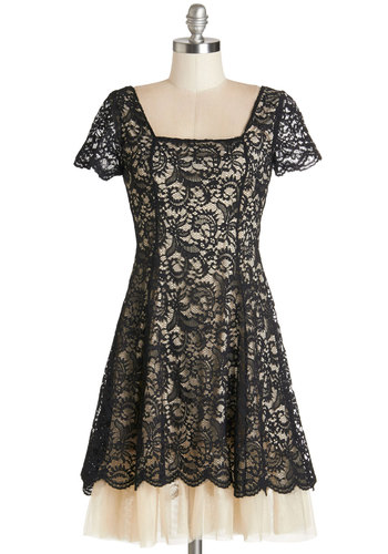 Afternoon Reception Dress - Black, Tan / Cream, Lace, Scallops, Special Occasion, A-line, Short Sleeves, Woven, Better, Lace, Tulle, Mid-length, Full-Size Run, Party, Homecoming