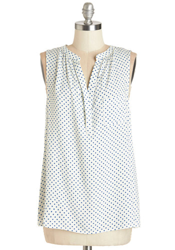 Very Merry Top - Mid-length, Woven, White, Blue, Polka Dots, Casual, Sleeveless, Summer, White, Sleeveless, Pockets