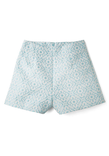 Work and Playa Shorts - High Waist, Spring, Summer, Good, High Rise, Blue, Short, Woven, Blue, White, Print, Daytime Party, Pastel