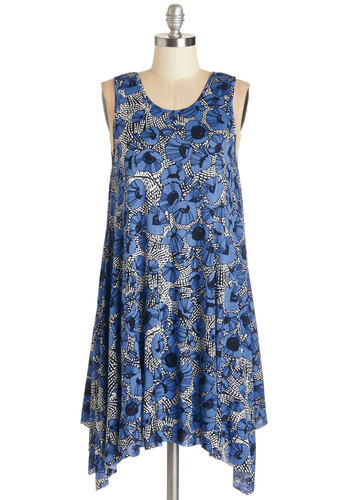 The Swingingest Spots Dress in Floral - Mid-length, Jersey, Knit, Casual, Sundress, Tent / Trapeze, Sleeveless, Summer, Good, Scoop, Blue, Multi, Floral, Variation