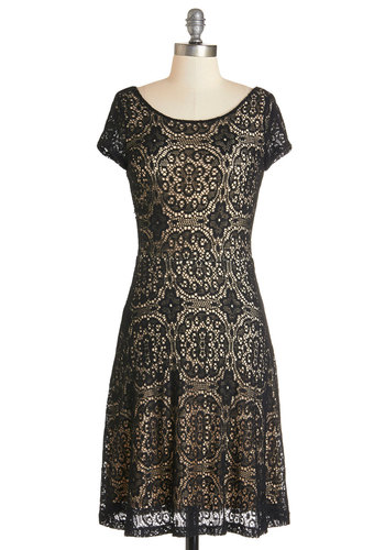 Simply Quintessential Dress - Tan / Cream, Black, Crochet, Party, A-line, Cap Sleeves, Knit, Good, Scoop