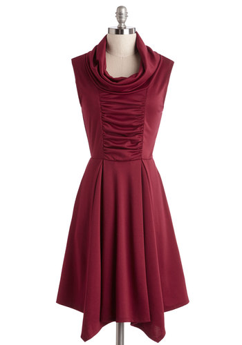 Storytelling Showstopper Dress in Burgundy - Red, Solid, Ruching, Casual, A-line, Sleeveless, Better, Cowl, Pockets, Exclusives, Variation, Full-Size Run, Press Placement, Top Rated, Mid-length