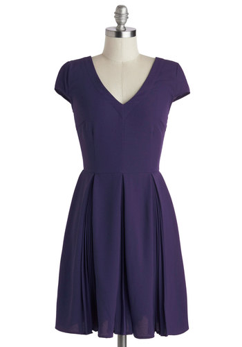 Motivational Manager Dress by Myrtlewood - Purple, Solid, Pleats, Casual, A-line, Cap Sleeves, Better, V Neck, Exclusives, Private Label, Woven, Mid-length