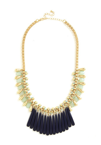 Glamour and More Necklace - Multi, Solid, Chain, Girls Night Out, Statement, Gold, Exclusives, Blue, Mint