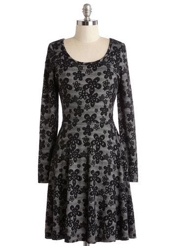 Demure Move Dress - Grey, Black, Floral, Casual, A-line, Long Sleeve, Good, Scoop, Exclusives