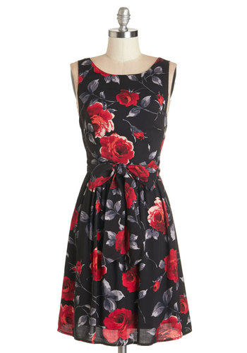 Lovestruck by a Feeling Dress - Multi, Floral, Backless, Party, A-line, Sleeveless, Fall, Woven, Good, Scoop, Belted, Graduation, Valentine's