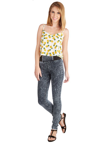 Stride and Go Sleek Jeans in Acid Wash - High Waist, Skinny, Fall, Good, High Rise, Full length, Blue, Colored, Denim, Cotton, Black, White, Other Print, Casual, Variation