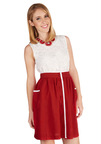 Skimming the Shore Skirt - A-line, Spring, Summer, Woven, Good, Red, Mid-length, High Waist, Red, White, Buttons, Pockets, Trim, Casual