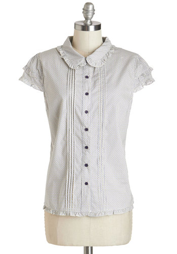 Literary Genius Top - Mid-length, Woven, White, Blue, Tan / Cream, Buttons, Peter Pan Collar, Work, Darling, Short Sleeves, White, Short Sleeve, Collared, Print, Ruffles
