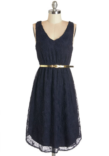 Marvelous is More Dress - Blue, Gold, Solid, Flower, Special Occasion, Party, A-line, Sleeveless, Summer, Woven, Better, V Neck, Mid-length, Belted