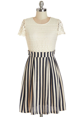 Trivia Night Triumph Dress - Tan / Cream, Black, Stripes, Lace, Pleats, Casual, A-line, Cap Sleeves, Summer, Knit, Better, Scoop, Mid-length, Lace, Exposed zipper