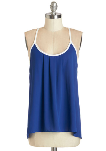 Exceedingly Swell Tank - Blue, Sleeveless, Mid-length, Woven, Blue, Solid, Casual, Spaghetti Straps, Summer, White, Trim