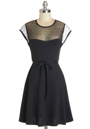 Delightful Shindig Dress - Mid-length, Knit, Black, Solid, Belted, Special Occasion, Party, LBD, A-line, Cap Sleeves, Better