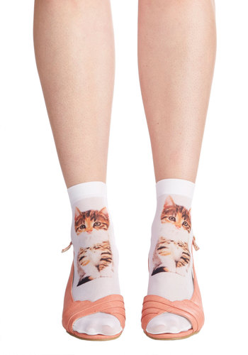 Tabby and You Know It Socks - Print with Animals, Quirky, Cats, Darling, Sheer, Knit, Multi, Casual, Critters, Gals, Under $20