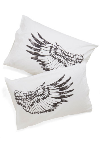Nap Your Wings Pillowcase Set - Cotton, Woven, Americana, Good, White, Black, Print with Animals, Critters