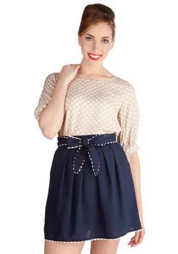 She and Whim Skirt - Short, Woven, Casual, A-line, Spring, Summer, Good, Blue, Blue, Solid, Pleats, Pockets, Scallops, Belted, Daytime Party, Folk Art, High Waist, White, Trim