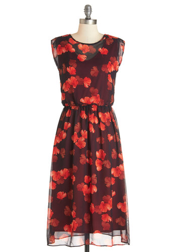 Admission Accomplished Dress - Red, Black, Floral, Party, A-line, Sleeveless, Woven, Better, Scoop, Long, Chiffon