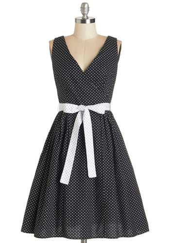 Great Dots! Dress by Bea & Dot - Black, White, Polka Dots, Pockets, Casual, Fit & Flare, Sleeveless, Better, V Neck, Belted, Exclusives, Private Label, Full-Size Run