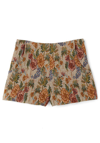 Bliss is How I Roll Shorts - Fall, Winter, Better, Mid-Rise, Brown, Non-Denim, Short, Multi, Floral, Pockets, Casual