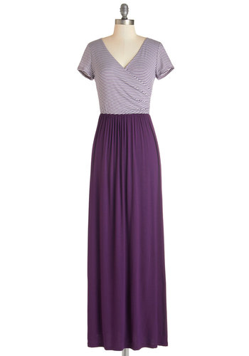 Sing-along with Me Dress in Stripes - Purple, White, Stripes, Casual, Maxi, Short Sleeves, Knit, Better, V Neck, Long, Top Rated