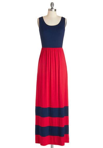Harbor Holiday Dress - Red, Blue, Stripes, Casual, Beach/Resort, Nautical, Americana, Maxi, Sleeveless, Knit, Good, Scoop, Long