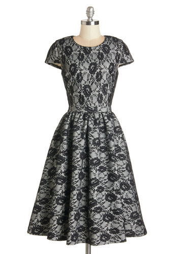 Enamored by Elegance Dress - Black, Print, Lace, Special Occasion, Prom, Homecoming, Fit & Flare, Cap Sleeves, Better, White, Pockets, Vintage Inspired, 50s, Exclusives, Long, WPI, Press Placement