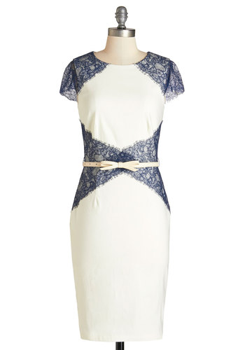On Your Guest Behavior Dress - Long, Knit, Lace, White, Blue, Lace, Belted, Cap Sleeves, Better, Cocktail, Sheath