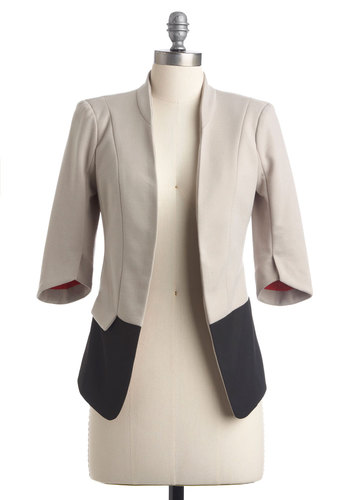 In Living Monochrome Blazer - Urban, Pockets, 3/4 Sleeve, Work, Menswear Inspired, 1, Colorblocking, Cream, Best Seller, Fall, White, 3/4 Sleeve, Top Rated, Mid-length