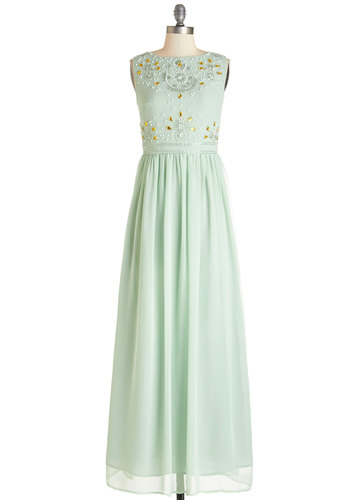 Sublime Sparkle Dress - Mint, Beads, Pearls, Rhinestones, Sequins, Special Occasion, Prom, Vintage Inspired, Maxi, Sleeveless, Summer, Woven, Better, Scoop, Long, Chiffon, Mixed Media, 30s, Wedding, Bridesmaid, Homecoming, Pastel
