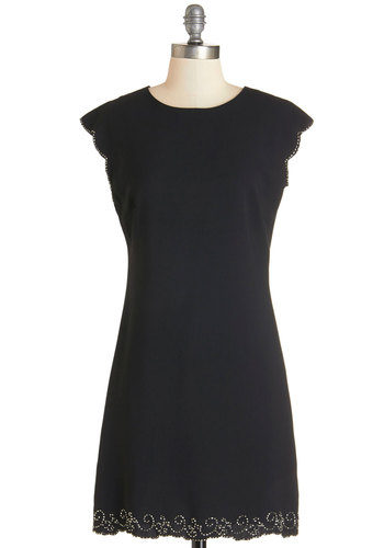 Ready for the Reunion Dress - Black, Solid, Beads, Scallops, Party, LBD, Shift, Cap Sleeves, Better, Woven, Mid-length