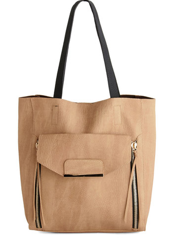 Catch You on the Zip Side Bag - Tan, Black, Solid, Pockets, Work, Basic, Faux Leather, Fall