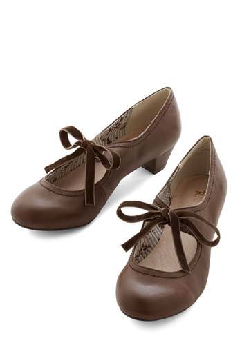 Stacks or Fiction Heel in Brown - Brown, Low, Lace Up, Better, Solid, Work, Vintage Inspired, 20s, 30s, Faux Leather, Variation