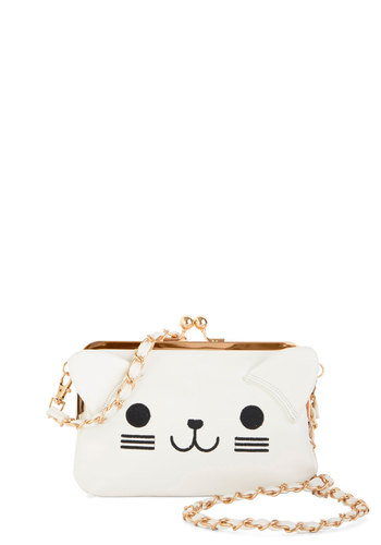 Lots of Purr-sonality Bag by Kling - White, Black, Print with Animals, Chain, Cats, Good, White, Faux Leather, Party, Kawaii, Critters, Gals