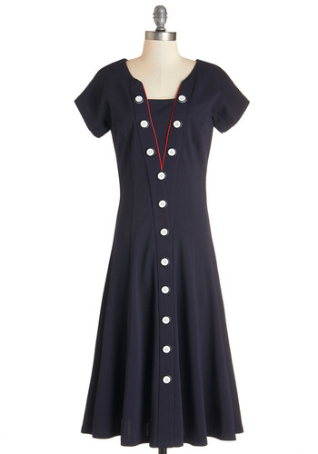 BRV CLOSED (8/18/14): Darling on Deck Dress - Blue, White, Solid, Buttons, Trim, Casual, Nautical, Americana, A-line, Short Sleeves, Better, Knit, Red