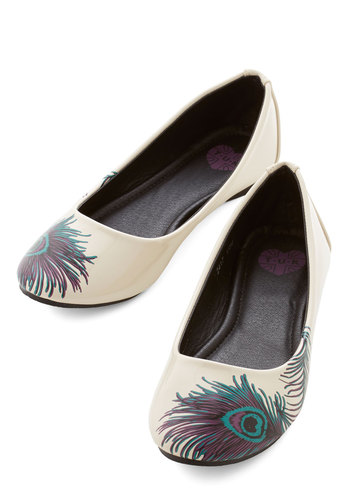 Proudly Posh Flat by T.U.K. - Flat, Faux Leather, White, Multi, Print, Casual, Better, Feathers, Top Rated