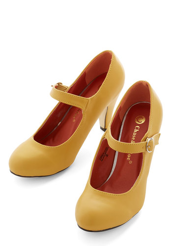 Member of the Board Heel in Yellow - Yellow, Solid, Work, Good, Mid, Faux Leather, Daytime Party, Minimal, Mary Jane, Variation