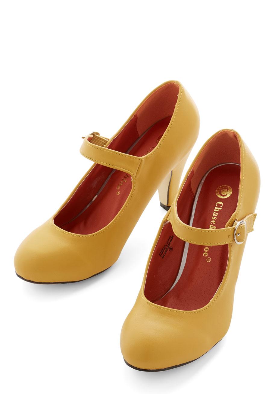 Yellow Mary Jane Heels