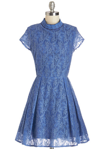 Chicory Dickory Dock Dress by Louche - Mid-length, Woven, Lace, Blue, Solid, Backless, Lace, Special Occasion, A-line, Cap Sleeves, Better, Pleats, Darling, Prom, Daytime Party