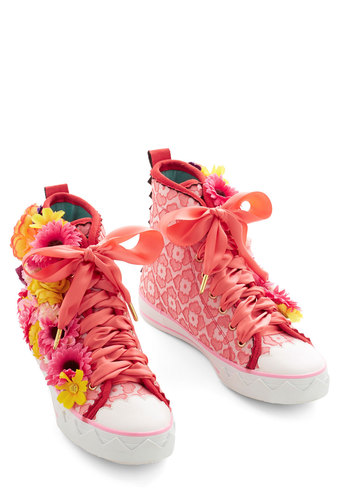Flower Fanatic Sneaker by Irregular Choice - Flat, Mixed Media, Pink, Multi, Print, Flower, Party, Daytime Party, Statement, Quirky, Best, Lace Up