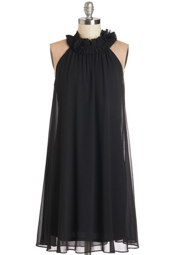 Cast Your Vogue Dress - Black, Solid, Special Occasion, Prom, Party, LBD, Shift, Sleeveless, Woven, Better, Chiffon, Pleats