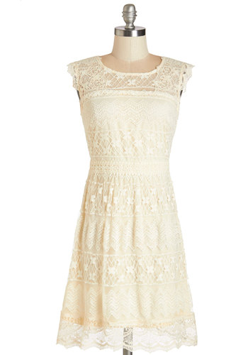 Coffee and Buttercream Dress - Cream, Solid, Lace, Scallops, Daytime Party, Shift, Sleeveless, Woven, Lace, Better, Scoop, Mid-length