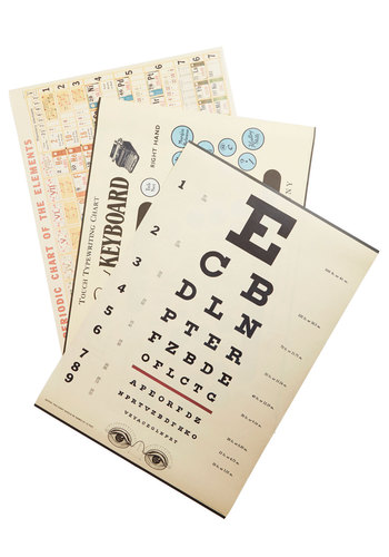 Old School Office Print Set - Multi, Dorm Decor, Nifty Nerd, Good, Scholastic/Collegiate, Novelty Print, Vintage Inspired