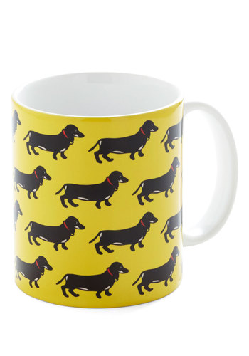Pup Bright and Early Mug - Yellow, Black, Print with Animals, Critters, Dog